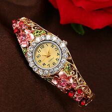 Women Beautiful Band Hollow Bangle Crystal Quartz Bracelet Watch Jewelry Desirou
