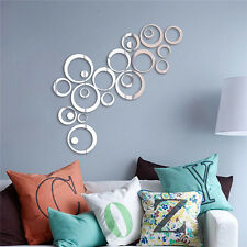 24Pcs Circles Wall Stickers Mirror Style Removable Decal Art Mural Wall Sticker