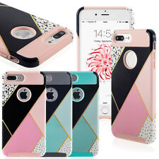 For iPhone 7/7 Plus Grid Print Shockproof Protective Hybrid Hard Soft Case Cover