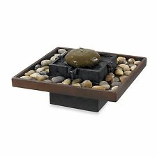 Bliss Indoor Resin Table Fountain Tranquil Rock Garden Gentle Water Home Decor