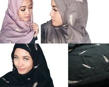 Gold Thread Feather Cotton Hijab Scarf Shawl for Muslim Muslimah