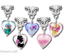 Wholesale Lots HX Mixed Glass Heart Dangle Beads Fit Charm Bracelets