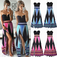 New Sexy Womens Bandeau Boho Cocktail Party Evening Splited Long Maxi Dress 8-20