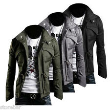WINTER Mens Military Trench Coat Slim Fit Casual Jacket Windbreaker Outerwear