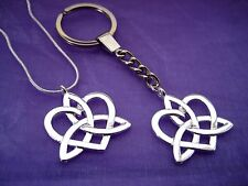 Silver Celtic Knot Love Heart Charm Necklace or Key Ring Keyring KeyChain