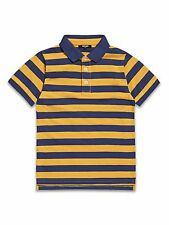 Boys, 2-8 years short sleeve 100% cotton polo shirt-mustard/navy