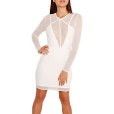 Womens Sexy Sheer Mesh Long Sleeve Bodycon Party Club Cocktail Mini Dress White