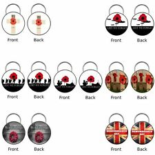 REMEMBRANCE POPPY DAY 45mm Double Sided Keyring Gift Lest We Forget The Dead