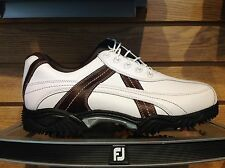 FootJoy Contour Contrast Stitch Golf Shoe #54043 Wht/Brn-Choose Size