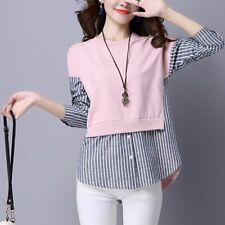 2017 Korean Spring Women Long Sleeve Fashion Striped False Two Pieces Shirt Tops