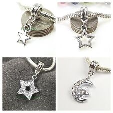 Silver Tone Moon Star Cryst Dangle Large Hole Bead for European Charm Bracelet