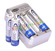 4x AA 3000mAh 1.2V Ni-MH rechargeable battery BTY for MP3 RC Toys Camera+Charger