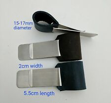 Metal Pen Holder with Genuine Leather Loop Large Size for Travelers Notebook