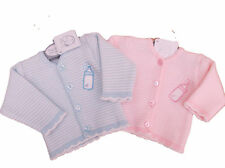 BNWT Tiny baby Premature Preemie pink or blue baby bottle knitted cardigan