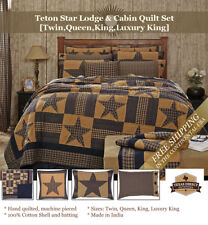 Western Star Lodge Quilt Set [Twin, Queen, King, Luxury King] Navy Blue/Tan
