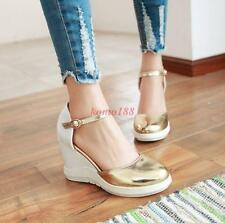 Womens platform Wedge Heels Ankle Strap buckle Round Toe Prom Girls Shoes Size