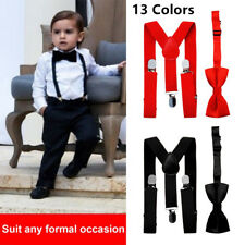 Kids New Design Suspenders and Bowtie Bow Tie Set Matching Ties Outfits New GF