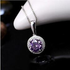 Sterling Silver Amethyst Necklace - Genuine Swarovski Amethyst CZ Necklace - Dia