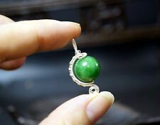 Wire Wrapped Green Emerald Jade Pendant - Sterling Silver Jade Necklace - Fine J