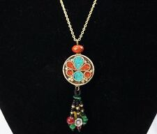 Turquoise Necklace Gold, Turquoise jewelry, Boho Necklace, Long Chain Afghan old