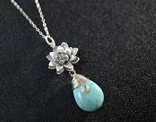 Turquiose Necklace - Lotus Necklace - Sterling Silver Natural Teardrop Turquoise