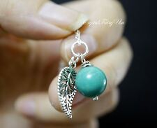 Genuine Turquoise Necklace Silver - Tiny Leaf Necklace - Sterling Silver Childre