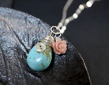 Wrapped Turquoise Necklace - Rose Flower Necklace - Natural Teardrop Turquoise P