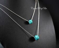 Layered Necklace - Faceted Turquoise Necklace - Sterling Silver Turquoise Neckla