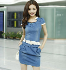 Women's Korean Style Package Hips Washed Denim Mixed Lace Mini Dress With Belt