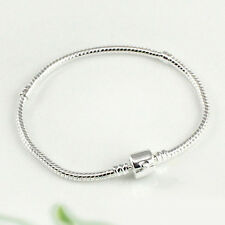 Silver Plated Snake Chain With Barrel Clasp Bead Charms Bangle Bracelet Proper
