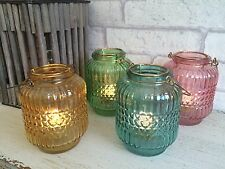 Glass Hanging Tea Light Candle Holder Outdoor Jar Garden Lantern Patio Lighting