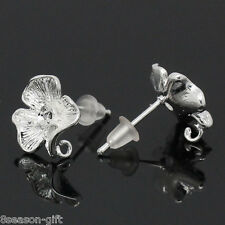 "Wholesale Lots HX Copper Earring Post Flower Silver Plated 17mmx12mm(5/8""x4/8"")"