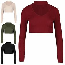 Womens Long Sleeve Pullover Ribbed Choker Neck Keyhole V Cut Hoody Cropped Top
