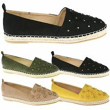 Nala Womens Flats Low Heels Slip On Espadrilles Ladies Summer Star Shoes Size