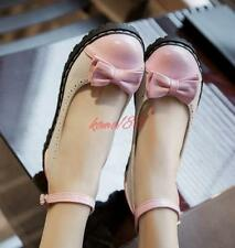 Womens Bowknot Round Toe Ankle Strap buckle Mary Jane Shoes Lolita preppy Shoes