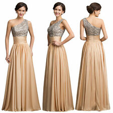 Womens One Shoulder Sequins Ball Gown Evening Prom Party Bridemaid Dress US 2~16