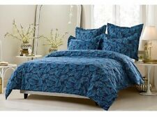 King / CKing Full / Queen Navy Palm Leaf Duvet Set 5 Piece Cover 4 Shams Blue
