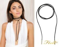 Sexy Black Faux Suede Cord String Wrap Bolo Tie Lariat Choker Necklace GOLD Tube
