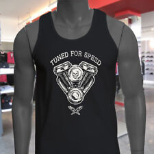 TUNED FOR SPEED ENGINE SKULL RACING RACER DRIFTER Mens Black Tank Top