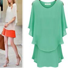 New Short Sleeve Chiffon Round Neck Ruffle Solid Loose Shirt Tops Blouse Womens