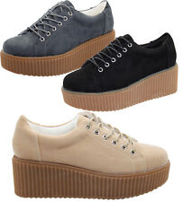 Ladies Designer Thick Sole Suede Style Plimsoll Pumps Trainer Shoes