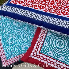44cm Handcrafted Hand Block Printed Cushion With Insert 3 Styles To Choose From