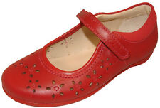 CLARKS DAISY FEET Red Girls Leather Riptape Mary Jane Shoes 9 - 12.5 FG Fit BNIB