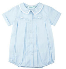 Feltman Brothers Baby Blue & White Embroidered Train Romper Infant Sizes NWT