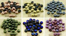 30pcs CANDY Metallic Round Domed 2 Two Hole Weaving Czech Glass Beads 8mm