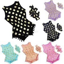 Newborn Infant Baby Girls Clothes Polka Dot Romper Jumpsuit Sunsuit Outfits Se