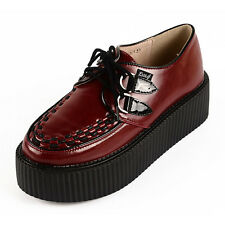 RoseG Women's Wine Red leather Lace Up Goth Punk Flats Platform Creeper Shoes