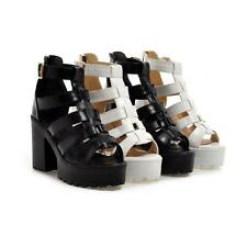 Womens Chunky block Heels Platform Strappy Roman Punk Sandals buckle Shoes Size