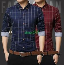 Mens Plaids Plus Size long Sleeve Casual shirts Slim Fit dress formal work shirt