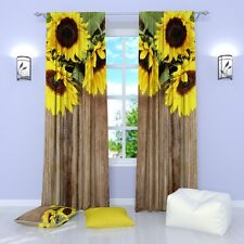 """Sun Flowers Floral Window Curtains Panel (Set of 2), Polyester, 84"""""""